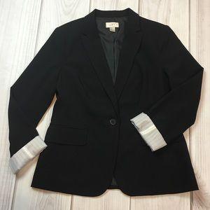 Loft Black Blazer with Cuffed Sleeves